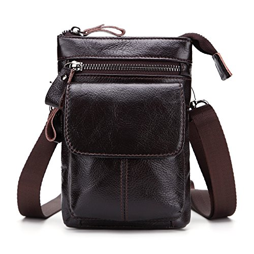 Men's pockets Leather belt mobile phone bag With shoulder straps First layer cowhide multi-function business bag