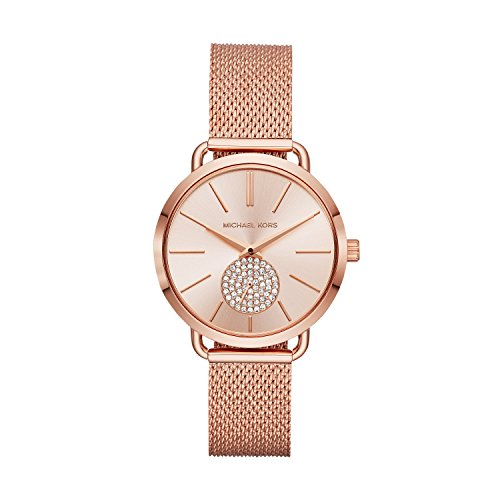 Michael Kors Women's 'Portia' Quartz Stainless Steel Casual Watch, Color:Rose Gold-Toned (Model: MK3845