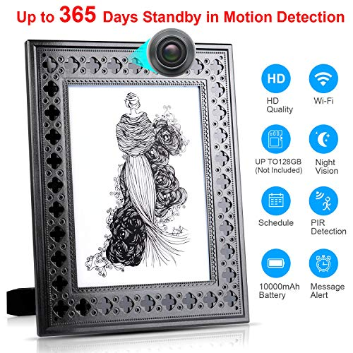 Spy Camera Wireless Hidden – Hidden Camera WiFi Photo Frame – Nanny Cams with Cell Phone APP – 720HD Night Vision & Motion Detection 365 Days Battery Powered Standby Instant Alerts for Indoor Security
